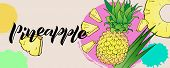 Design Of Banner With Handwritten Lettering Of Pineapple. Composition Of Text And Illusstrations Of  poster