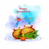 Lord Krishna Playing Bansuri Flute In Happy Janmashtami Festival Background Of India poster
