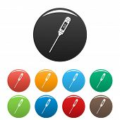 Thin Thermometer Icon. Simple Illustration Of Thin Thermometer Icons Set Color Isolated On White poster