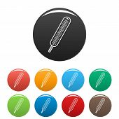 Mercury Thermometer Icon. Simple Illustration Of Mercury Thermometer Icons Set Color Isolated On Whi poster