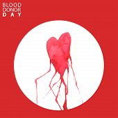 Watercolor Handdrawn Heart With Veins. Blood Drops. Blood Donor Day Concept. Vector Illustration poster
