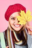 Autumn Model. Close Up Portrait Of Smiling Woman With Maple Leaves. Autumn Mood. Woman With Autumn L poster