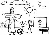 Hand Drawn Vector Illustration Or Drawing Of Jesus Christ Playing With Children In Childish Style poster