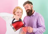 Man With Mug And Woman With Electric Teapot Ready To Drink Morning Coffee. First Thing They Do Every poster