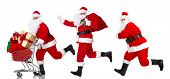 image of boxing day  - Happy Santa Claus with Christmas shopping cart - JPG