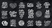Set Of Hand Lettering Quotes With Sketches For Coffee Shop Or Cafe. Hand Drawn Vintage Typography Co poster