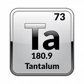 Tantalum Symbol.chemical Element Of The Periodic Table On A Glossy White Background In A Silver Fram poster