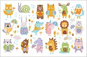Animal Woodland Autumn Vector Set. Cartoon Of Cute Animals Vector Set poster