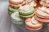 Wedding Candy Bar. Dessert Table With A Macaroons, Closeup poster