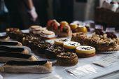 Homemade Desserts On Sale At Borough Market, London, Uk. poster