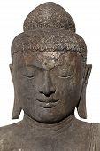 stock photo of siddhartha  - Portrait of a black buddha isolated over white background - JPG