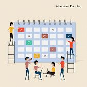 Calendar With Schedule Plans.people Filling Out The Schedule In The Table.work Planning.daily Routin poster