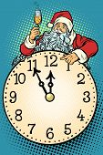 Santa Claus, Christmas Time. Champagne Celebration At Midnight. Pop Art Retro Vector Illustration Vi poster