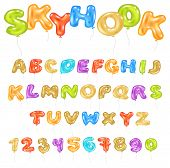 Alphabet Abc Vector Balloon Kids Alphabetical Font With Helium Color Letters And Numbers For Birthda poster