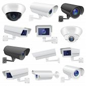 Cctv Camera. Large Collection Of White And Black Security Surveillance System. Wall And Ceiling Moun poster