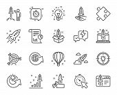 Startup Line Icons. Set Of Launch Project, Business Report And Target Linear Icons. Strategy, Develo poster
