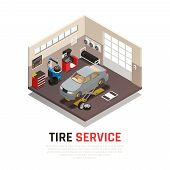Tire Service Workshop Interior With Automobile Jacks Car Tire Fitting And Balancing Equipment Isomet poster