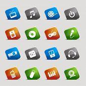 Постер, плакат: Вырезать квадраты медиа Иконы