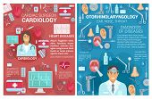Cardiology And Otorhinolaryngology Medical Clinic Posters. Vector Cardiologist Surgeon And Otolaryng poster