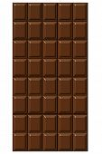 Illustration of dark chocolate bar on white background.