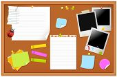 Notice board filled with various stationary items, easy edit