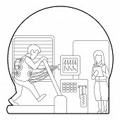Medical Testing Person On Treadmill Concept. Outline Illustration Of Medical Testing Person On Tread poster