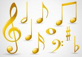 image of music symbol  - Various musical notes in gold - JPG