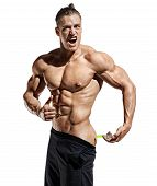Bodybuilder Makes An Injection Of Anabolic Steroids. Photo Of Sporty Man With Perfect Physique Showi poster
