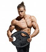 Sportive Man Workout With Heavy Weight Disks. Photo Of Athletic Young Man With Naked Torso And Good  poster