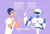 Chatbot Concept. Man Chatting With Chat Bot. Customer Support Service Vector Illustration. Chat With poster