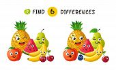 Finding Differences. Children Game With Happy Cartoon Fruits. Vector Illustration For Kids Book. Fru poster