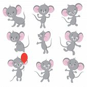 Cute Mouse. Cartoon Mice In House. Vector Isolated Characters. Mouse Animal, Rodent Mammal, Mice Com poster