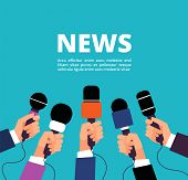 News Concept With Microphones. Broadcasting, Interview And Communication Vector Banner With Handa Ho poster