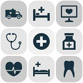 Antibiotic Icons Set With Pulse, Medical Sign, Diagnostics And Other Rhythm Elements. Isolated  Illu poster