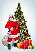 stock photo of santa claus hat  - Santa Claus and Christmas tree and gifts - JPG