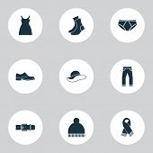Clothes Icons Set With Scarf, Clothes, Socks And Other Elegance Elements. Isolated Vector Illustrati poster