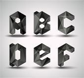 Trendy Black Fractal Geometric Alphabet. ABCDEF, Vector Illustration.