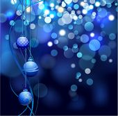 image of christmas star  - Christmas defocus lights with balls - JPG