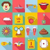 April Fools Day Icons Set. Flat Illustration Of 16 April Fools Day Icons For Web poster