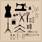 Retro Sewing Kit Icon Set. Black Vintage Sewing Kit Icons. Mannequin, Sewing Machine, Scissors Vinta poster