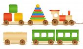 Wooden color toys. Pyramid, train, cubes