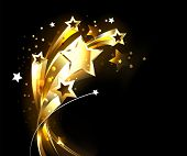 Five Soaring, Golden, Shining Stars On Black Background. poster