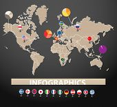 Infographics. Continents, flags and statistics
