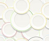 stock photo of mandible  - Seamless background of White plates set with colorful rims - JPG