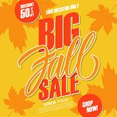 Big Fall Sale. This Weekend Special Offer Background With Hand Lettering And Autumn Leaves For Seaso poster