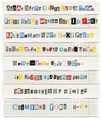 pic of alphabet letters  - Different colors vector letters from newspaper and magazines collection - JPG