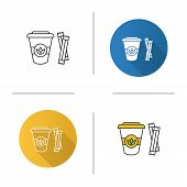 Tea To Go With Sugar Sachets Icon. Disposable Tea Cup With Lid. Flat Design, Linear And Color Styles poster