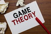 Conceptual Hand Writing Showing Game Theory. Business Photo Text Branch Of Mathematics Concerned Wit poster