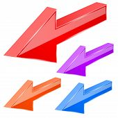 Colored Arrows. 3d Previous Sign. Vector Illustration Isolated On White Background poster