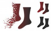 Socks Icon In Dissolved, Pixelated Halftone And Undamaged Whole Versions. Points Are Organized Into  poster